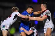 5 January 2019; Adam Byrne of Leinster is tackled by Ulster players, from left, Robert Lyttle, Peter Nelson and James Hume during the Guinness PRO14 Round 13 match between Leinster and Ulster at the RDS Arena in Dublin. Photo by Brendan Moran/Sportsfile