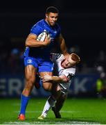 5 January 2019; Adam Byrne of Leinster is tackled by Peter Nelson of Ulster during the Guinness PRO14 Round 13 match between Leinster and Ulster at the RDS Arena in Dublin. Photo by Ramsey Cardy/Sportsfile