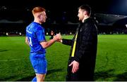 5 January 2019; Ciarán Frawley, left, and Ross Byrne of Leinster after the Guinness PRO14 Round 13 match between Leinster and Ulster at the RDS Arena in Dublin. Photo by Brendan Moran/Sportsfile