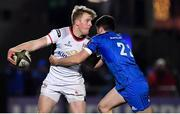 5 January 2019; Rob Lyttle of Ulster offloads as he is tackled by Jimmy O'Brien of Leinster during the Guinness PRO14 Round 13 match between Leinster and Ulster at the RDS Arena in Dublin. Photo by Brendan Moran/Sportsfile