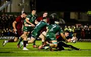 5 January 2019; Dan Goggin of Munster scores his side's second try despite the efforts of Tom Daly of Connacht during the Guinness PRO14 Round 13 match between Connacht and Munster at the Sportsground in Galway. Photo by Diarmuid Greene/Sportsfile