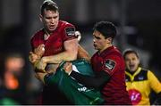 5 January 2019; Caolin Blade of Connacht in a tussle with Chris Farrell, left, and Joey Carbery of Munster after Tom Farrell scored Connacht's first try during the Guinness PRO14 Round 13 match between Connacht and Munster at the Sportsground in Galway. Photo by Piaras Ó Mídheach/Sportsfile