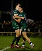 5 January 2019; Cian Kelleher of Connacht, right, celebrates with team-mate Tom Farrell after scoring his side's second try during the Guinness PRO14 Round 13 match between Connacht and Munster at the Sportsground in Galway. Photo by Diarmuid Greene/Sportsfile