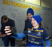 5 January 2019; Leinster's Jonathan Sexton with supporter Tom Cole, age 12, from Athy, Co. Kildare, in 'Autograph Alley' prior to the Guinness PRO14 Round 13 match between Leinster and Ulster at the RDS Arena in Dublin. Photo by Seb Daly/Sportsfile