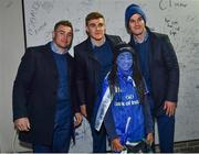 5 January 2019; Leinster players Jonathan Sexton, Garry Ringrose and Jordan Larmour with young supporter Simi Shanu, age 9, from Dundrum, Dublin, in 'Autograph Alley' prior to the Guinness PRO14 Round 13 match between Leinster and Ulster at the RDS Arena in Dublin. Photo by Seb Daly/Sportsfile