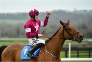 6 January 2019; Jockey Jack Kennedy celebrates after winning the Lawlor's of Naas Novice Hurdle on Battleoverdoyen at Naas Racecourse in Kildare. Photo by Seb Daly/Sportsfile