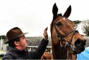 6 January 2019; Eddie O'Leary of Gigginstown House Stud with Battleoverdoyen after winning the Lawlor's of Naas Novice Hurdle at Naas Racecourse in Kildare. Photo by Seb Daly/Sportsfile