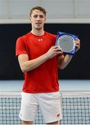 6 January 2019; Osgar O'Hoisin of Donnybrook LTC with the shield following the Men's Singles final match between Osgar O'Hoisin of Donnybrook LTC and Thomas Brennan of David Lloyd Riverview during the Shared Access National Indoor Tennis Championships 2019 Finals at the David Lloyd Riverview in Dublin. Photo by Harry Murphy/Sportsfile