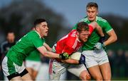 6 January 2019; Ruairi Deane of Cork is tackled by Paiul Maher left, and Gordon Brown of Limerick during the McGrath Cup Semi-final between Limerick and Cork at Mick Neville Park in Rathkeale, Co. Limerick. Photo by Ramsey Cardy/Sportsfile
