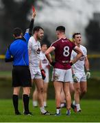 6 January 2019; Paschal Connell of Kildare is sent off by referee Barry Tiernan after being shown a second yellow card in the first half during the Bord na Móna O'Byrne Cup Round 3 match between Westmeath and Kildare at the Downs GAA Club in Westmeath. Photo by Piaras Ó Mídheach/Sportsfile