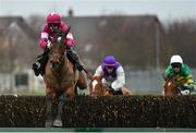 6 January 2019; Arvico Bleu, with Rachael Blackmore up, jumps the last on their way to finishing third in the Eastcoast Seafood & Gouldings Hardware Handicap Steeplechase at Naas Racecourse in Kildare. Photo by Seb Daly/Sportsfile