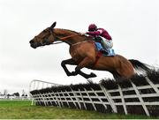 6 January 2019; Battleoverdoyen, with Jack Kennedy up, jumps the last on their way to winning the Lawlor's of Naas Novice Hurdle at Naas Racecourse in Kildare. Photo by Seb Daly/Sportsfile
