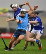6 January 2019; Cian Boland of Dublin in action against Ryan Mullaney, left, and Colm Stapleton of Laois during the Bord na Mona Walsh Cup Round 3 match between Laois and Dublin at O'Moore Park in Portlaoise, Laois. Photo by Brendan Moran/Sportsfile