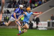 6 January 2019; Eamonn Dillon of Dublin in action against Ryan Mullaney of Laois during the Bord na Mona Walsh Cup Round 3 match between Laois and Dublin at O'Moore Park in Portlaoise, Laois. Photo by Brendan Moran/Sportsfile