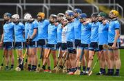 6 January 2019; The Dublin team stand for the national anthem prior to the Bord na Mona Walsh Cup Round 3 match between Laois and Dublin at O'Moore Park in Portlaoise, Laois. Photo by Brendan Moran/Sportsfile