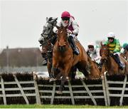 6 January 2019; Mystique Heights, centre, with Ricky Doyle up, jumps the last on their way to winning the Adare Manor Opportunity Handicap Hurdle at Naas Racecourse in Kildare. Photo by Seb Daly/Sportsfile
