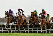 6 January 2019; Mystique Heights, second left, with Ricky Doyle up, jumps the second on their way to winning the Adare Manor Opportunity Handicap Hurdle at Naas Racecourse in Kildare. Photo by Seb Daly/Sportsfile