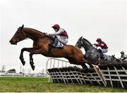 6 January 2019; Mystique Heights, left, with Ricky Doyle up, jumps the last on their way to winning the Adare Manor Opportunity Handicap Hurdle at Naas Racecourse in Kildare. Photo by Seb Daly/Sportsfile