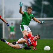 6 January 2019; Matthew Taylor of Cork in action against Gordon Brown of Limerick during the McGrath Cup Semi-final between Limerick and Cork at Mick Neville Park in Rathkeale, Co. Limerick. Photo by Ramsey Cardy/Sportsfile