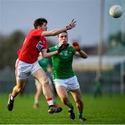 6 January 2019; Tom Clancy of Cork in action against Mike Fitzgibbon of Limerick during the McGrath Cup Semi-final between Limerick and Cork at Mick Neville Park in Rathkeale, Co. Limerick. Photo by Ramsey Cardy/Sportsfile