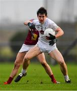 6 January 2019; Mark Dempsey of Kildare in action against Ger Leech of Westmeath during the Bord na Móna O'Byrne Cup Round 3 match between Westmeath and Kildare at the Downs GAA Club in Westmeath. Photo by Piaras Ó Mídheach/Sportsfile