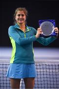 6 January 2019; Giulia Remondina of Castleknock LTC poses with the shield following the Women's Singles final match between Giulia Remondina of Castleknock LTC and Ruth Copas of Dundalk LTC during the Shared Access National Indoor Tennis Championships 2019 Finals at the David Lloyd Riverview in Dublin. Photo by Harry Murphy/Sportsfile
