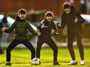 6 January 2019; Westmeath supporters, from left, Paul Keating, Michael Moloney, and Criostoir Ormsby, all age 11, and from Mullingar, after the Bord na Móna O'Byrne Cup Round 3 match between Westmeath and Kildare at the Downs GAA Club in Westmeath. Photo by Piaras Ó Mídheach/Sportsfile