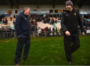6 January 2019; Leitrim manager Terry Hyland, left, and Mayo manager James Horan following the Connacht FBD League Preliminary Round match between Leitrim and Mayo at Avantcard Páirc Seán Mac Diarmada in Carrick-on-Shannon, Co Leitrim. Photo by Stephen McCarthy/Sportsfile
