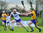 6 January 2019; Jordan Hanley of Waterford in action against David Conroy of Clare during the Co-Op Superstores Munster Hurling League 2019 match between Waterford and Clare at Fraher Field in Waterford. Photo by Matt Browne/Sportsfile