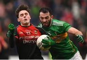 6 January 2019; Colm Moran of Mayo in action against Fergal McTague of Leitrim during the Connacht FBD League Preliminary Round match between Leitrim and Mayo at Avantcard Páirc Seán Mac Diarmada in Carrick-on-Shannon, Co Leitrim. Photo by Stephen McCarthy/Sportsfile