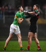 6 January 2019; Seamie O'Shea of Mayo and Damien Moran of Leitrim during the Connacht FBD League Preliminary Round match between Leitrim and Mayo at Avantcard Páirc Seán Mac Diarmada in Carrick-on-Shannon, Co Leitrim. Photo by Stephen McCarthy/Sportsfile