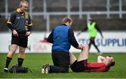 6 January 2019; Brendan McArdle of Down being treated for an injury as referee Barry Cassidy looks on during the Bank of Ireland Dr McKenna Cup Round 2 match between Down and Donegal at Pairc Esler, Newry, Co. Down. Photo by Oliver McVeigh/Sportsfile