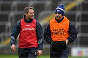 6 January 2019; Laois manager Eddie Brennan, left, with former Dublin hurler and Laois strength & conditioning coach Niall Corcoran prior to the Bord na Mona Walsh Cup Round 3 match between Laois and Dublin at O'Moore Park in Portlaoise, Laois. Photo by Brendan Moran/Sportsfile