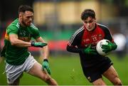 6 January 2019; Colm Moran of Mayo and Conor Reynolds of Leitrim during the Connacht FBD League Preliminary Round match between Leitrim and Mayo at Avantcard Páirc Seán Mac Diarmada in Carrick-on-Shannon, Co Leitrim. Photo by Stephen McCarthy/Sportsfile
