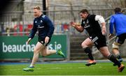 7 January 2019; James Tracy, left, and Tadhg Furlong during Leinster Rugby squad training at Energia Park in Donnybrook, Dublin. Photo by Ramsey Cardy/Sportsfile