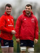 7 January 2019; Peter O'Mahony, left, and Tadhg Beirne during Munster Rugby Squad Training at the University of Limerick in Limerick. Photo by Piaras Ó Mídheach/Sportsfile