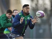 8 January 2019; Bundee Aki during Connacht Rugby squad training at the Sportsground in Galway. Photo by Seb Daly/Sportsfile