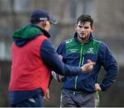 8 January 2019; Tom Daly, right, in conversation with head coach Andy Friend during Connacht Rugby squad training at the Sportsground in Galway. Photo by Seb Daly/Sportsfile