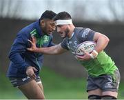 8 January 2019; James Connolly, right, and Bundee Aki, left, during Connacht Rugby squad training at the Sportsground in Galway. Photo by Seb Daly/Sportsfile