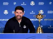 8 January 2019; Padraig Harrington of Ireland with the Ryder Cup trophy during a press conference where he was announced as European Ryder Cup Captain for the 2020 Ryder Cup matches which take place at Whistling Straits, USA, at the Wentworth Club in Surrey, England. Photo by Brendan Moran/Sportsfile