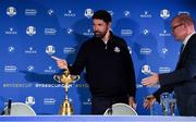 8 January 2019; Padraig Harrington, left, of Ireland is introduced by European Ryder Cup Director Guy Kinnings during a press conference where he was announced as European Ryder Cup Captain for the 2020 Ryder Cup matches which take place at Whistling Straits, USA, at the Wentworth Club in Surrey, England. Photo by Brendan Moran/Sportsfile