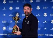8 January 2019; Padraig Harrington of Ireland with the Ryder Cup trophy after a press conference where he was announced as European Ryder Cup Captain for the 2020 Ryder Cup matches which take place at Whistling Straits, USA, at the Wentworth Club in Surrey, England. Photo by Brendan Moran/Sportsfile