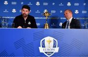 8 January 2019; Padraig Harrington of Ireland with European Ryder Cup Director Guy Kinnings, right, and the Ryder Cup trophy after a press conference where he was announced as European Ryder Cup Captain for the 2020 Ryder Cup matches which take place at Whistling Straits, USA, at the Wentworth Club in Surrey, England. Photo by Brendan Moran/Sportsfile