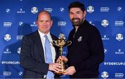 8 January 2019; Padraig Harrington of Ireland with European Ryder Cup Director Guy Kinnings, left, and the Ryder Cup trophy after a press conference where he was announced as European Ryder Cup Captain for the 2020 Ryder Cup matches which take place at Whistling Straits, USA, at the Wentworth Club in Surrey, England. Photo by Brendan Moran/Sportsfile