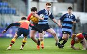 8 January 2019; David Murphy of Newpark Comprehensive School evades the tackle from Ronan Peterson of St Fintan's High School during the Bank of Ireland Vinnie Murray Cup Round 1 match between Newpark Comprehensive and St Fintan's High School at Energia Park in Dublin. Photo by David Fitzgerald/Sportsfile