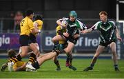 8 January 2019; Cormac Walsh of Gorey Community School is tackled by Matthew Mahood of The King's Hospital during the Bank of Ireland Vinnie Murray Cup Round 1 match between The King's Hospital and Gorey Community School at Energia Park in Dublin. Photo by David Fitzgerald/Sportsfile