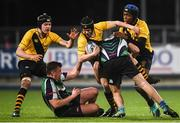 8 January 2019; William Hendy of The King's Hospital is tackled by Joseph Butler of Gorey Community School during the Bank of Ireland Vinnie Murray Cup Round 1 match between The King's Hospital and Gorey Community School at Energia Park in Dublin. Photo by David Fitzgerald/Sportsfile