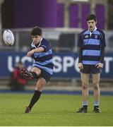 8 January 2019; Joel Caetano Faria of Newpark Comprehensive School during the Bank of Ireland Vinnie Murray Cup Round 1 match between Newpark Comprehensive and St Fintan's High School at Energia Park in Dublin. Photo by David Fitzgerald/Sportsfile