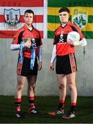 9 January 2019; Cian Kiely of UCC and Cork, left, and Sean O'Shea of UCC and Kerry in attendance at the launch of Electric Ireland's Sigerson, Fitzgibbon and Higher Education Championships announcement at Clanna Gael GAA Club in Dublin. Electric Ireland will live stream a selection of Fitzgibbon and Sigerson Cup games, bringing fans closer to the action than ever before. As part of the First Class Rivals campaign, rival county footballers but now college teammates, Sean O'Shea (Kerry and UCC) and Cian Kiely (Cork and UCC),  Michael McKernan (Tyrone and UU) and Eoghan Bán Gallagher (Donegal and UU) and hurlers, Brian Hogan (Tipperary and UCD) and Seamus Flanagan (Limerick and UCD) will each will put aside their traditional county rivalries, pulling on matching college jerseys to compete as teammates for glory in the Electric Ireland GAA Higher Education Fitzgibbon and Sigerson Cup. Photo by David Fitzgerald/Sportsfile