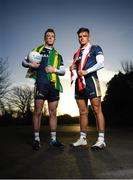 9 January 2019; Eoghan Bán Gallagher of University of Ulster and Donegal, left, and Michael McKernan of University of Ulster and Tyrone in attendance at the launch of Electric Ireland's Sigerson, Fitzgibbon and Higher Education Championships announcement at Clanna Gael GAA Club in Dublin. Electric Ireland will live stream a selection of Fitzgibbon and Sigerson Cup games, bringing fans closer to the action than ever before. As part of the First Class Rivals campaign, rival county footballers but now college teammates, Sean O'Shea (Kerry and UCC) and Cian Kiely (Cork and UCC),  Michael McKernan (Tyrone and UU) and Eoghan Bán Gallagher (Donegal and UU) and hurlers, Brian Hogan (Tipperary and UCD) and Seamus Flanagan (Limerick and UCD) will each will put aside their traditional county rivalries, pulling on matching college jerseys to compete as teammates for glory in the Electric Ireland GAA Higher Education Fitzgibbon and Sigerson Cup. Photo by David Fitzgerald/Sportsfile
